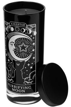 Black glass container with all-black soy wax - scented with Spellbinding Berry - and contrasting 'Purrifying Moon' graphic on front Gothic Room, Gothic House, Gothic Bathroom, Goth Bedroom, Gothic Bedroom Decor, Macabre Decor, Goth Home Decor, Gypsy Decor, Ac New Leaf