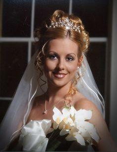 wedding tiara with long blond hairstyle