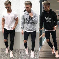 Looks masculino, roupas masculinas, roupa rosa, modelos de roupas, roupas. Fashion Moda, Boy Fashion, Mens Fashion, Fashion Outfits, Fashion Ideas, Looks Adidas, Boy Outfits, Casual Outfits, Casual Wear