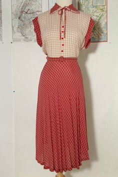 Vintage 1940s Sheer Red White Rayon Dress Rockabilly Swing VLV 30s 40s L 12 14 | eBay