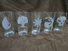 Magic: the Gathering Mana Drinking Glass Set of Five