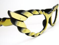 Vintage 50s Yellow French Cat Eye Sunglasses Frames Wild Eyewear. $188.00, via Etsy.