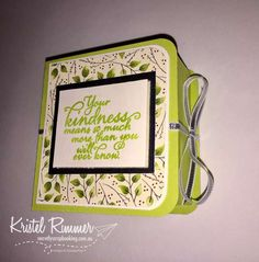 """Book Box with Painted Harvest Stamp Set, Lemon Lime Twist, Very Vanilla, Silver Foil Sheets, Painted Autumn DSP and 1/8"""" (3.2mm) Silver Ribbon (Stampin' Up!) - Secretly Scrapbooking (Bunbury, WA)"""