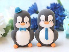 Same sex Penguin wedding cake toppers - personalized elegant 2 brides or 2 grooms