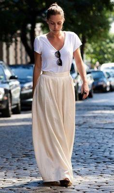 simple: white tee + cream maxi skirt. #WearingThisTomorrow