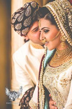 The lehenga and jewelry are exquisite.