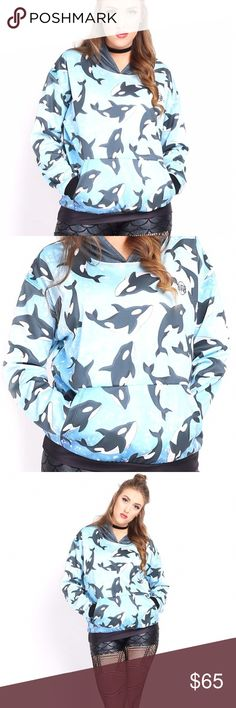 Living Dead All Killer No Filler Whales Hoodie LDC Super cute!! Excellent condition, only worn once!! Size Large Living Dead Clothing Tops Sweatshirts & Hoodies