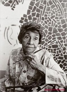 """""""Alma Woodsey Thomas developed her signature style — large, abstract paintings filled with dense, irregular patterns of bright colors — in her 70s,"""" writes the National Museum of Women in the Arts. """"Thomas became an important role model for women, African-Americans, and older artists. She was the first African-American woman to have a solo exhibition at New York's Whitney Museum of American Art, and she exhibited her paintings at the White House three times."""" Thomas battled the double stigma…"""