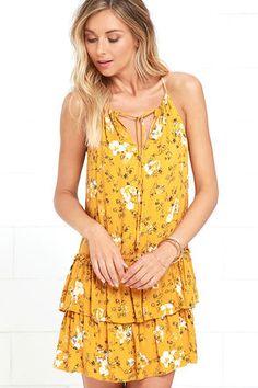 Cute Golden Yellow Dress - Floral Print Dress - Sundress - $49.00