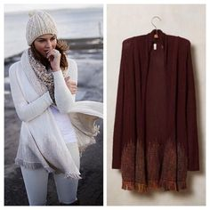 """Anthropologie Nevis Cardigan Selling in the burgundy color. By Moth Fine-gauge knit cotton, viscose, wool, acrylic, alpaca Open silhouette with embroidered fringe hem Hand wash Imported ❗️Note❗️ This is a Petite XS - 25.25""""L IRL Pics Coming Soon Anthropologie Sweaters Cardigans"""