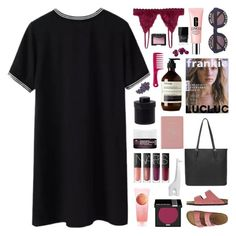 """""""lucluc 18"""" by randomn3ss ❤ liked on Polyvore featuring Wildfox, TravelSmith, NARS Cosmetics, Korres, The Body Shop, Royce Leather, MAKE UP FOR EVER, Jonathan Adler, Mad et Len and Aesop"""