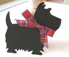 Black Scottie Dog Gift Tags, Scottie Dog Gift Embellishment. $3.95, via Etsy.