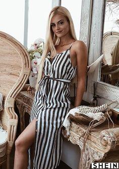77c4ddb64844 Button Through Self Belt Stripe Cami Dress   SHEIN Button Dress, Spring  Fashion Outfits,