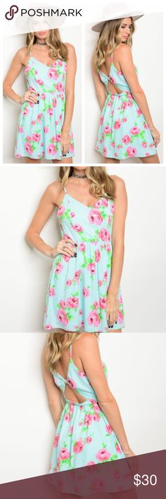 Mint Floral Dress Beautiful and fun spring/summer dress! Perfect for events and vacations! Has adjustable spaghetti straps and a zipper on the side! The material isn't stretchy so you must be a true S M or L! 100% polyester! Please ask for additional measurements! Dresses Mini