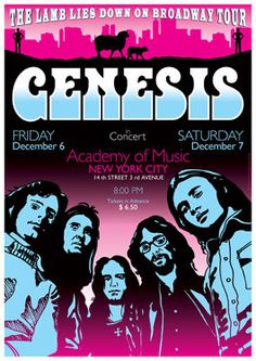 GENESIS New York 6 December 1974 retro artistic by tarlotoys, broadway tour poster Rock And Roll Bands, Rock Bands, Rock N Roll, Peter Gabriel, Tour Posters, Band Posters, Smooth Jazz, Norman Rockwell, Concert Rock