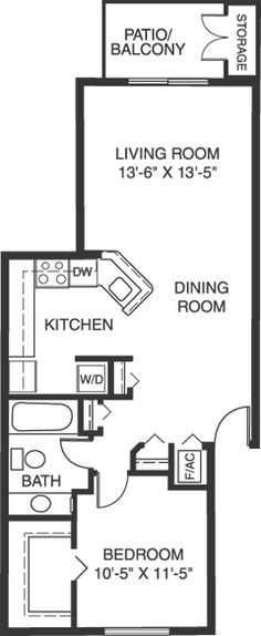 Click for One-bedroom Apartment Floor Plan