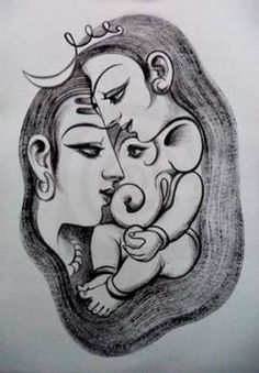 30 best Ideas for drawing ideas pencil sketches nose Outline Drawings, Art Drawings Sketches Simple, Pencil Art Drawings, My Drawings, Drawing Ideas, Pencil Sketch Art, Ganesha Art, Ganesha Drawing, Shiva Tattoo