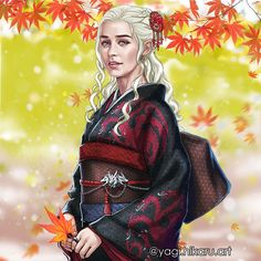 Recently I passed the kimono store. There I saw unusual fabrics and designs of a kimono and the same night I dreamed of Daenerys in the kimono of the House Targarien.&#12...