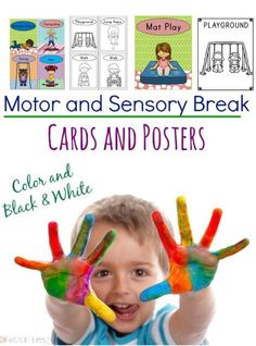Perfect for physical therapy, occupational therapy, or special education. Motor and sensory break posters and cards! Pre K Activities, Gross Motor Activities, Sensory Activities, Therapy Activities, Infant Activities, Therapy Ideas, Sensory Play, Physical Therapy Exercises, Pediatric Physical Therapy