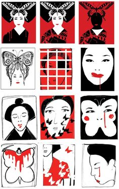 Edel Rodriguez illustration - Madame Butterfly poster concept roughs