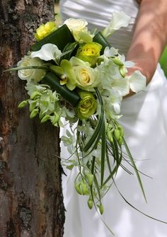 Green cascade bridal bouquet.  Flowers of Charlotte loves this!