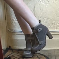 Bettye Muller Radford bootie High heel ankle boot Suede upper with strap buckle closures Leather insole and rubber sole 3¼ inch heel  Material: Suede  Brand: Bettye Muller  Origin: Spain Bettye Mueller Shoes