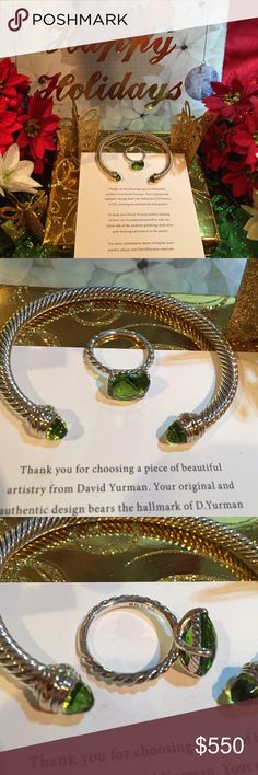 """💯David Yurman peridot cable ring and 5mm bangle 🎄DY hallmark 925 and mint condition.  Will have signature pouches  and DY gift box for bangle included. This is adorable and the bangle fits up to 4.75""""-6"""" wrist. David Yurman Jewelry Rings"""