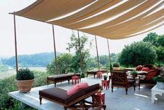 Terrace with a large tent