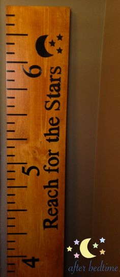 """Wooden Ruler Growth Chart """"Reach for the Stars"""" by AfterBedtime Woodworking Guide, Custom Woodworking, Woodworking Projects Plans, Teds Woodworking, Diy Wood Projects, Wood Crafts, Stool Chart, Growth Chart Ruler, Growth Charts"""