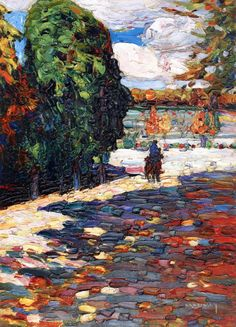 Wassily Kandinsky, Russian Park von St Cloud - mit Reiter (Park of St Cloud - With oil on board, 33 cm in. Impressionism, Landscape Paintings, Art Photography, Fine Art, Love Painting, Painting, Wassily Kandinsky, Art Movement, Art Pictures