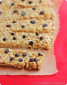 "The ""3 Minute"" High Protein Granola Bars: http://chocolatecoveredkatie.com/2014/08/11/protein-granola-bars/"