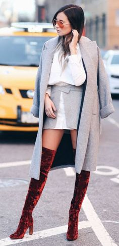 Chic trendy look | White blouse, trench coat and burgundy velvet over the knee boots
