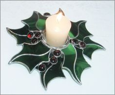 Stained glass candle holder Holly Berry by RainbowStainedGlass, €85.00
