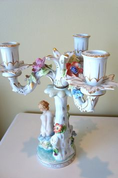 RESERVE for musicboxdave: Antique Dresden Putti Candelabra 3 Arm Porcelain…