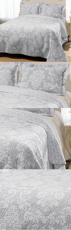Quilts Bedspreads and Coverlets 175749: King Size Grey Reversible Cotton 3-Pc Quilt Set Laura Ashley Venetia Bedding -> BUY IT NOW ONLY: $115.27 on eBay!