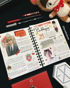 #EXO #exolightstick #fangoods Bullet Journal Notes, Bullet Journal Ideas Pages, Bullet Journal Inspiration, Journal Pages, Journal Design, Journal Layout, My Journal, Smash Book, Kpop