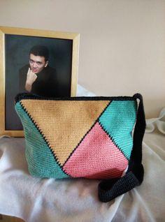 Handmade Zippered Crocheted Sling bag Cross Body by RainbowKnit