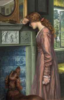 A Passing Cloud by Arthur Hughes, British pre-Raphaelite painter, oil on canvas. ~ I love these pictures of women and dogs. I really relate. Moritz Von Schwind, Pre Raphaelite Paintings, Lawrence Alma Tadema, Pre Raphaelite Brotherhood, Dante Gabriel Rossetti, Art Ancien, Victorian Art, Dog Art, Beautiful Paintings