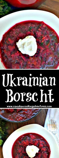 Ukrainian Borscht Soup (Красный Борщ) Ruby Red Borscht soup is one of my favorite things to make going into the fall season. The bright red beets carry so many health benefits, it's no wonder I feel so great after eating this for a couple of days. Beet Borscht, Beet Soup, Soup And Salad, Ukrainian Recipes, Russian Recipes, Ukrainian Food, Russian Dishes, Russian Foods, Russia