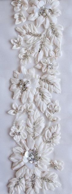 Hand Embroidery Ideas Hand applique silk tafetta flowers embellished with pearls and beads - Pearl Embroidery, Tambour Embroidery, Bead Embroidery Patterns, Hand Embroidery Stitches, Silk Ribbon Embroidery, Hand Embroidery Designs, Embroidery Techniques, Embroidery Kits, Tambour Beading