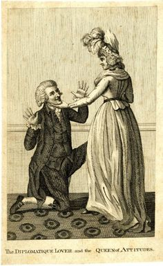 The Diplomatic Lover and the Queen of Attitudes (Anonymous). Social satire; illustration in the Bon Ton Magazine, I.243; a man, representing Sir William Hamilton, kneels enraptured at the feet of a lady, representing Emma Hart (Lady Hamilton), who lifts his chin to look at him. 1 October 1791.