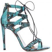 Aquazzura-Beverly-Hills-blue-snakeskin-lace-up-sandal/Dorothy Johnson