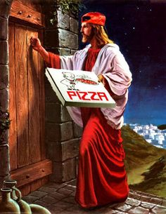 Because religion is laughable. Funny atheist/secular/religious memes, jokes, parody and satirical humour. Funny Religious Pictures, Atheist Humor, Art Jokes, Pizza Delivery, Delivery Man, Wow Art, Arte Pop, Funny Art, Caricatures