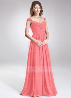 A-Line/Princess Sweetheart Floor-Length Chiffon Bridesmaid Dress With Ruffle Beading Sequins (007016866) - JJsHouse