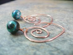 hammered copper spiral ear wires with a chrysocola gemstone