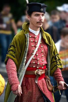 People in tradtional Hungarian costume celebrating the wine festival - Badacsony, Hungary
