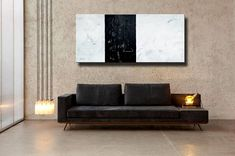 72x32 ORIGINAL ABSTRACT White Gray Black Extra Large