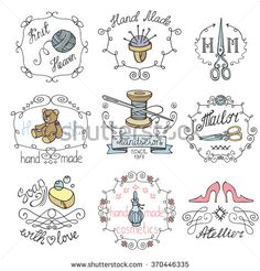 Handmade logo.Hand made needlework doodle logo,badges.Sewing,knitting.Icons set.Colored hand drawing sketch.Vintage logotypes,labels.Vector hand made supplies,knitt equipment.Design template.