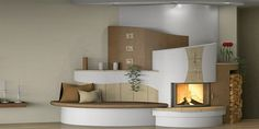 Home Fireplace, Living Room With Fireplace, Fireplace Surrounds, Stair Shelves, Furniture Placement, Home And Living, Building A House, Sweet Home, House Design