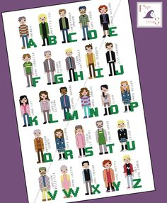 Unofficial Gilmore Girls themed alphabet cross stitch - PDF Pattern - INSTANT DOWNLOAD by FangirlStitches on Etsy